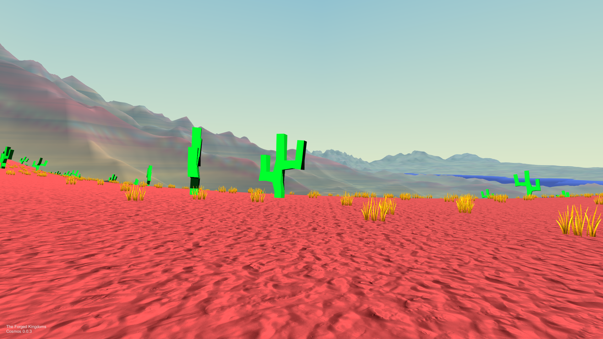 """First person gameplay screenshot from Forged Odyssey, set in a desert"""