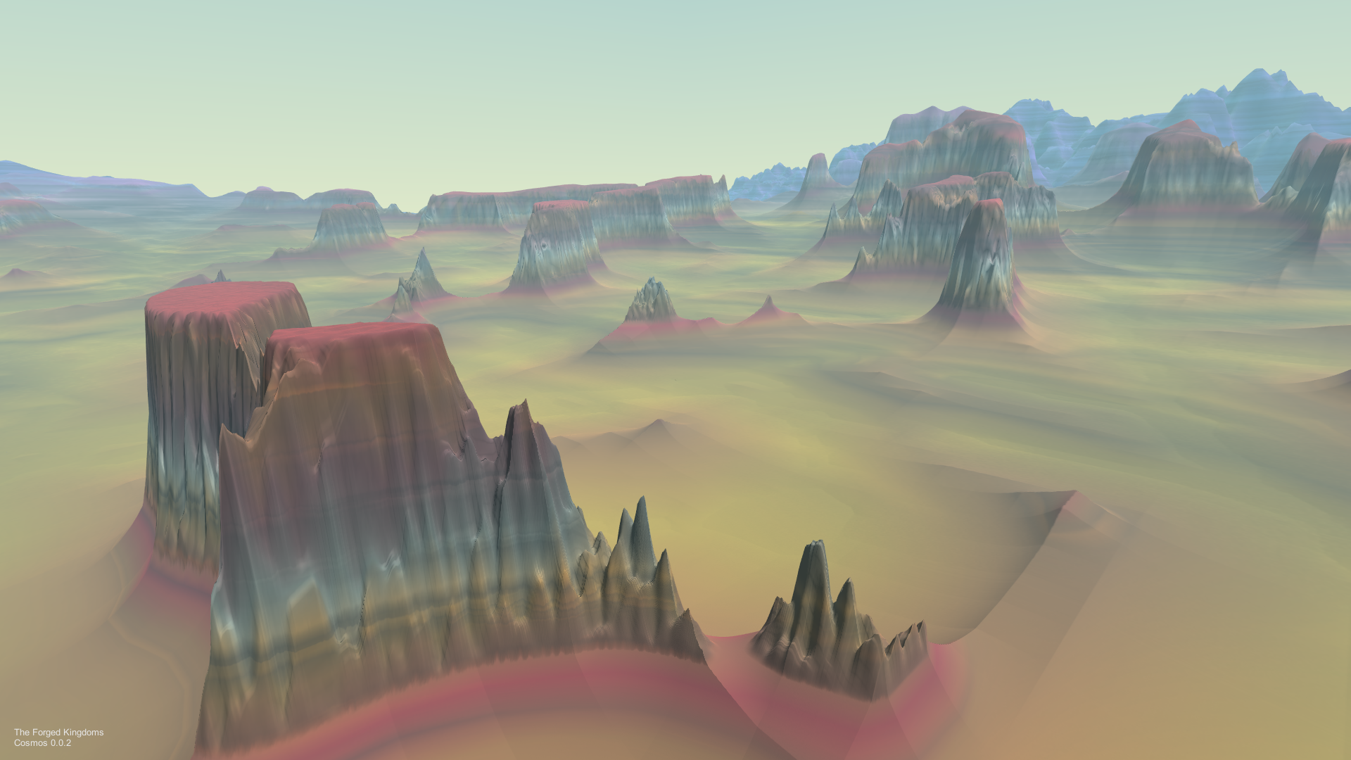"""In the air screenshot of colorful mesas in Forged Odyssey"""