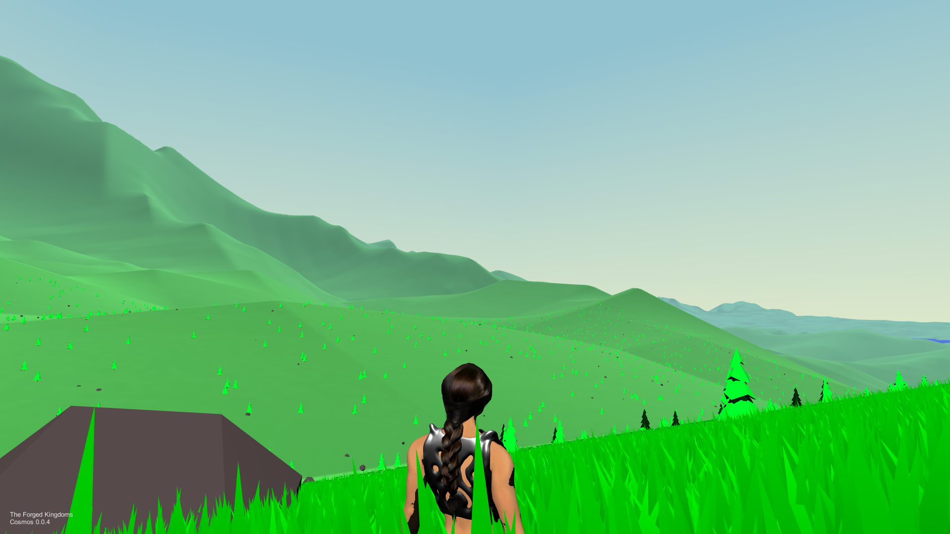 """Over the shoulder gameplay screenshot from Forged Odyssey, set in a grassy meadow"""